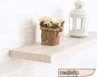 "Floating Wall Shelf 30"" Soft Grain Eco Friendly Decorative Shelving in White Ash made from non-toxic zBoard LIFETIME WARRANTY (w-s30-wa)"