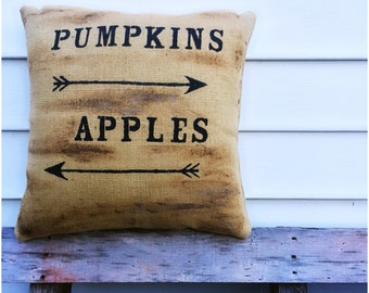 Pumpkins and Apples burlap pillow
