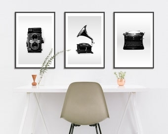 Vintage Objects Wall Art Set, Black and White Objects Photography Set, Music Room Wall Art Set, Black and White Art Print Set