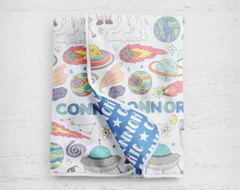 "The ""Connor Space"" Personalized Baby Name Blanket Outerspace Astronaut"