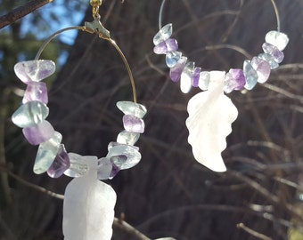 Rose quartz and flourite earrings