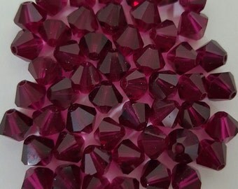 Swarovski 6mm Bicone Faceted Crystal Beads - Ruby x 50 beads