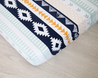 Fitted Crib Sheet | Navy and Gold