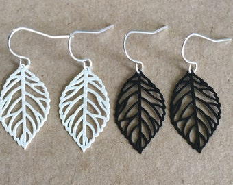 Ivory White or Black Leaf Filigree Stamping Dangle Earrings