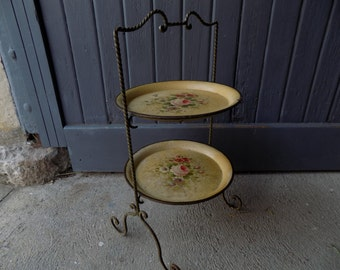French vintage / antique tole ware cake stand with two pretty, hand painted trays, circa early 1900s..