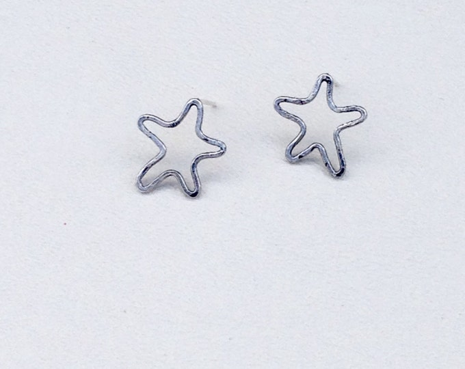 Star abstract stud earrings sterling silver