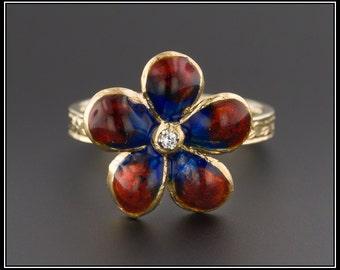 14k Gold Enamel Flower Ring   Red & Blue Flower Ring   14k Gold Ring   Vintage Pin Conversion Ring   Vintage Jewelry   Diamond Flower Ring