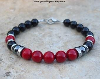 Red Coral, Hematite and Black Onyx, Mens Beaded Bracelet, Mens Jewelry - B4
