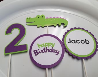 Alligator centerpiece, Alligator banner, Alligator party decorations, Alligator birthday party