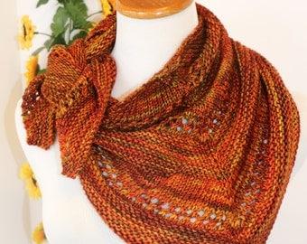 Triangle scarf, fall colored bandana, rust, orange, brown kerchief, petite scarf, multicolored wool scarf
