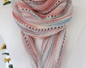 Pastel knit scarf, pink, blue and ecru wrap, long triangle scarf, girls scarf,  merino wool kerchief scarf