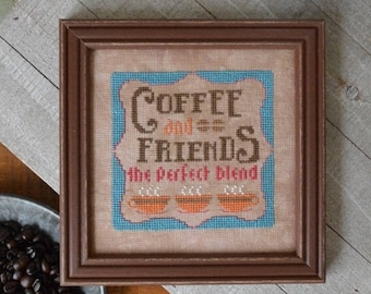 """HANDS ON DESIGNS """"Coffee And Friends""""   Cross Stitch Pattern   Cool Beans Series, Coffee, Caffeine, Cup, Mug"""