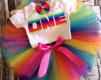 First birthday Rainbow tutu set - First Birthday tutu set - 1st birthday tutu set - Rainbow Tutu Set - first birthday outfit -