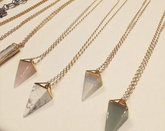 Pyramid crystal, pyramid necklace, crystal necklace, pyramid stone necklace