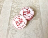 RESERVED: Set of 24 Count Vintage Stamped Embossed Felted Paper Novelty Comic Disposable Coasters with Scalloped Edges