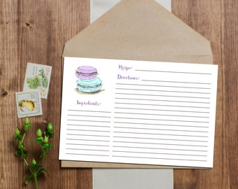 Macaroon Recipe Card - Instant Download - 3x5 and 4x6