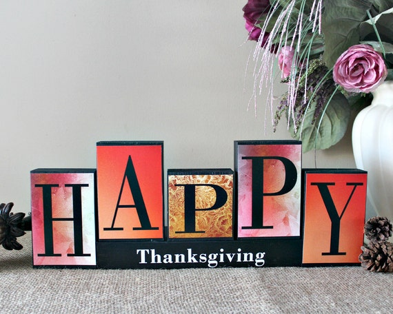 Happy thanksgiving decor thanksgiving blocks fall decor Happy thanksgiving decorations