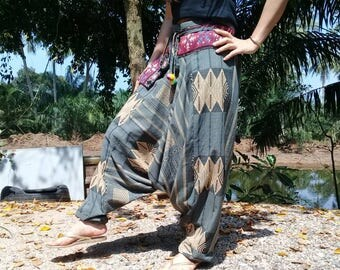 Baggy Pants Harem Ninja Pirate Hill Tribe Aztec  Gray Beige