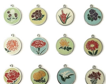 """Large 1.25"""" Flower of the Month Charms (set of 12)"""