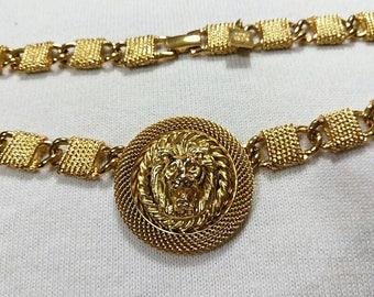 Vintage Anne Klein Designer Lion Medallion Necklace