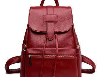 Large-capacity backpack, leather fashion backpack, travel bag, laptop bag, student backpack