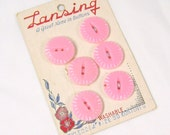 """Vintage Buttons Estate Auction - 6 Lansing Pink Round Scallop Edge 3/4"""" 2 Hole Plastic Original Card New Old Stock NOS"""