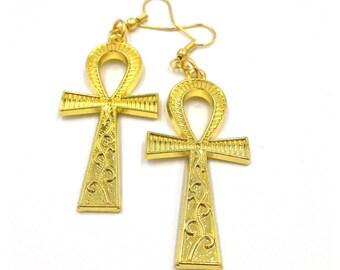 Ankh Earrings| Ankh Jewelry| Kemetic Jewelry| Gold Ankh Earrings| Egyptian Earrings| Womens Jewelry| Egyptian Jewelry| African Jewelry|