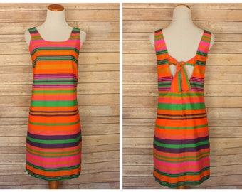1960s orange stripped dress   60s stripped dress   vintage 1960s shift dress   1960s orange and pink dress   1960s dress