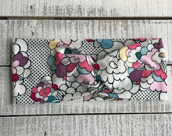 Pop Floral Turban Headband, Wide Headband, Twist Headband