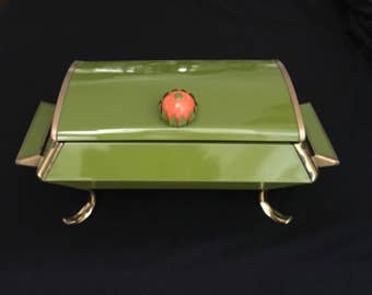 Mid Century Modern Chafing Dish Green With Gold Feet and Accented Trim and Orange Handle