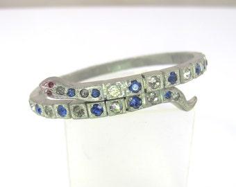 Art Deco Rhinestone Snake Bracelet, Paste Set Sapphire Blue Clear Stones, Coiled Serpent Wrap Bangle, 1920s Rhodium Plated Jewelry