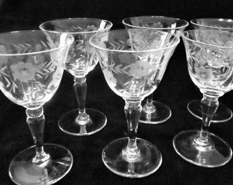 Six Etched Cordial glasses Flower and Wheat Design