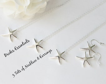 3 Set of Sterling Silver Starfish Earring Necklace, Beach Wedding Jewelry, Bridesmaid Gift, Layering Necklace, Bridesmaid Starfish Jewelry