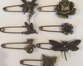 Small Shawl Pins ADD ON ONLY to a Yarn Purchase Antique Finish Flower Hummingbird Cat Butterfly