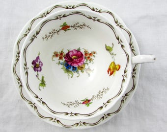 Aynsley Tea Cup and Saucer with Black Border and Flowers, Vintage Bone China, Teacup and Saucer