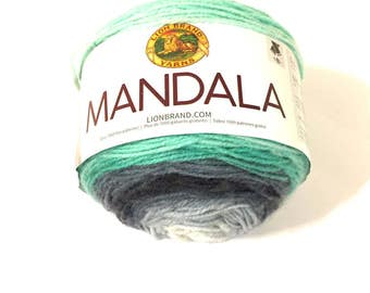 Lion Brand Mandala, color change yarn, multicolor yarn, new yarn cake, soft acrylic, #3 yarn, new yarn cake, variegated  green gray charcoal
