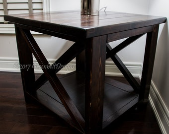 New Recovery Wood Modern Custom Design Rustic-X Series End/Side/Bed Table