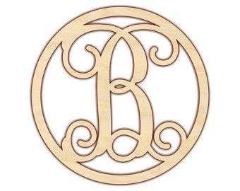 "Circle Monogram - Large Wood Monogram Letter - 18""-24"" - 150201"