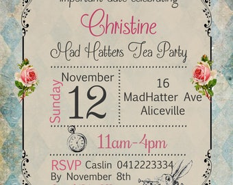 MAD HATTER tea party Printable JPEG invite invitation with photo - Australian seller