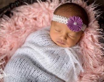 Newborn Headband,12 Inch Headband, Newborn Photos, Purple Headband, Lavender Lace Headband, Baby Gift, Baby Girl, Baby Shower Gift
