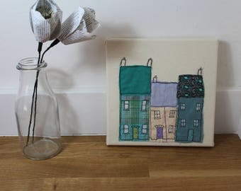 Handmade little row of houses, ideal gift, recycled textile art