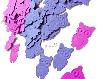 120 Mixed Purple Embossed Owl double-sided Cut-outs, Confetti - Set of 120 pcs