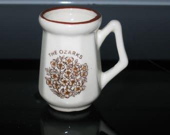 Vintage Mug Toothpick Holder, Vintage Souvenir, The Ozarks Miniature Bud Vase, Table Decor, Collectible, Souvenir Collectible, Vintage