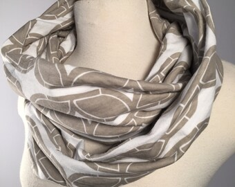 Light Grey Infinity Scarf, Organic Cotton Jersey Knit, Circle Scarf, Cowl Scarf, Fashion Accessory, Teacher Gifts, Gift for Her
