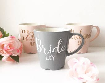 Bride Mug, Bridesmaid Mug, Personalised Mug, Bride Gift, Wedding Gift, Celebration Mug, Bridesmaid Gift, Pink Mug, Grey Mug