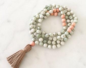 Dream Mala (green)- mala beads, mala necklace, tassel necklace, mala, tassel, mala beads necklace, tassel necklaces, beaded necklace