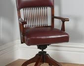 Antique English Edwardian Oak  Red Leather Revolving Office Desk Armchair (Circa 1910)