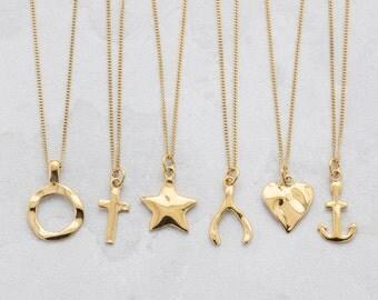 gold plated charm necklace, gold charm pendants, heart charm, cross charm, circle charm, anchor charm, wishbone charm, star charm