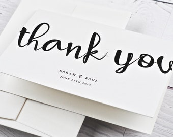 Wedding Thank You Card, Large Script, Contemporary - SAMPLE