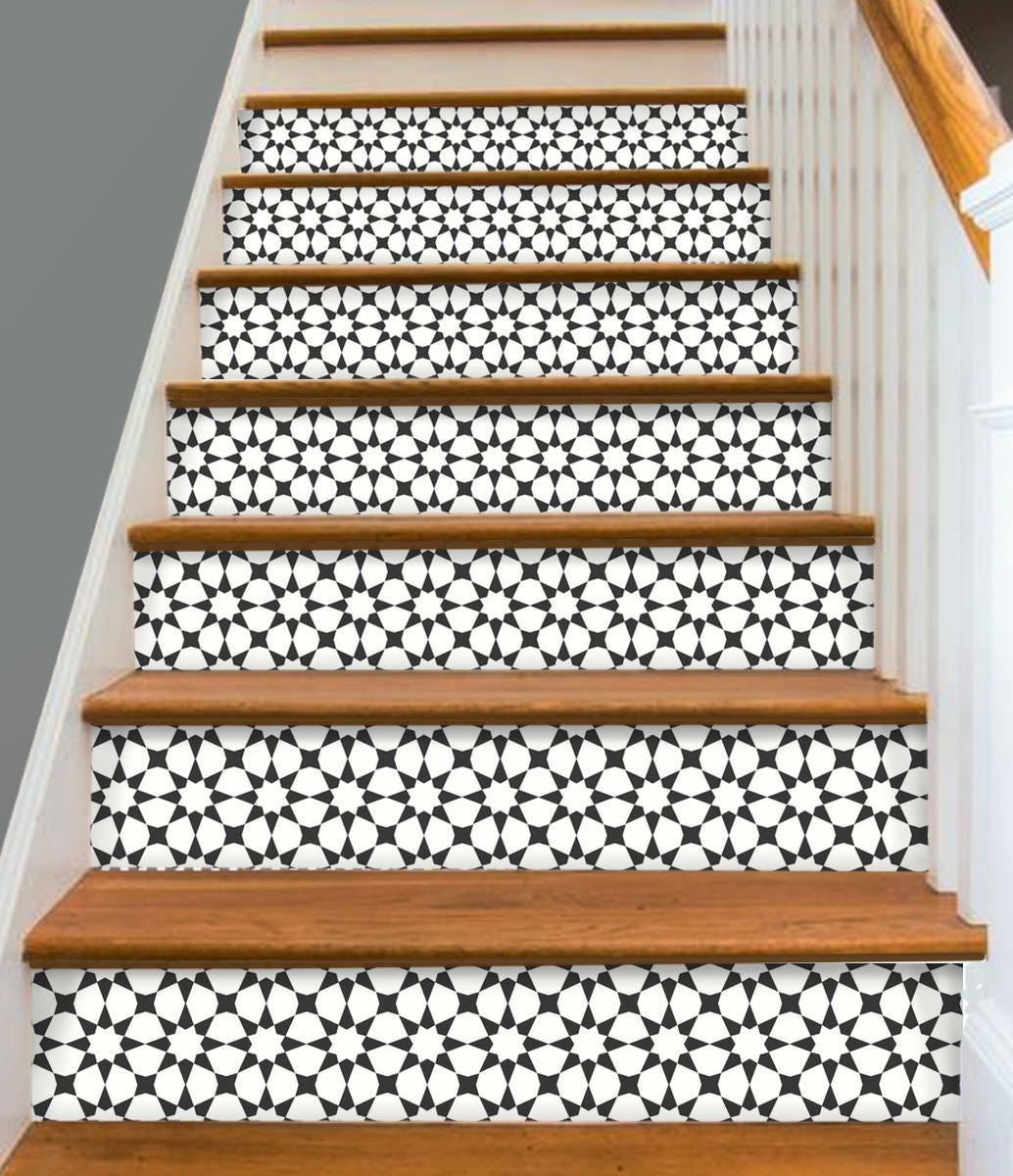 stair riser vinyl strips 15 steps removable sticker peel. Black Bedroom Furniture Sets. Home Design Ideas